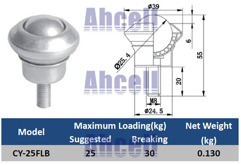 CY-25FLB screw ball transfer caster